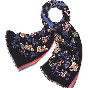 🆕 Tory Burch Black Hopewell Print Oblong Scarf